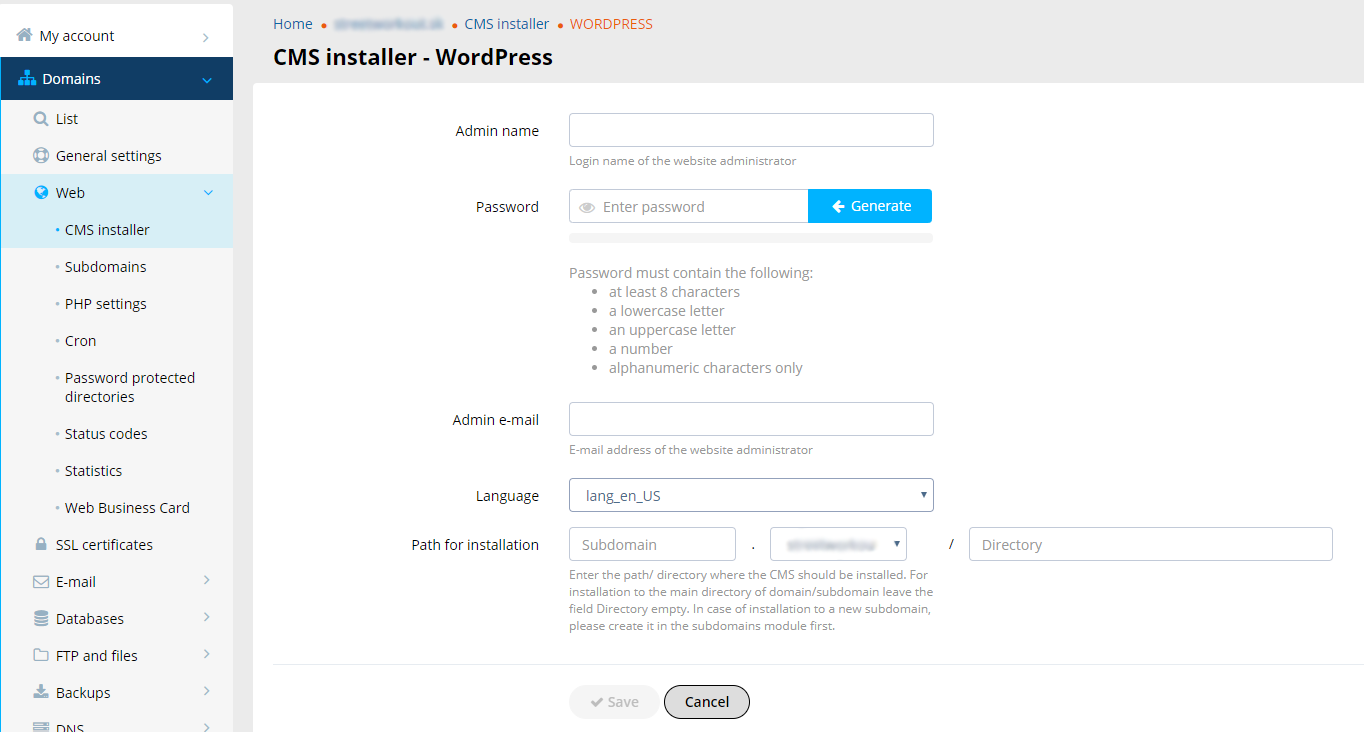 CMS Installer - How to install WordPress | WY Podpora